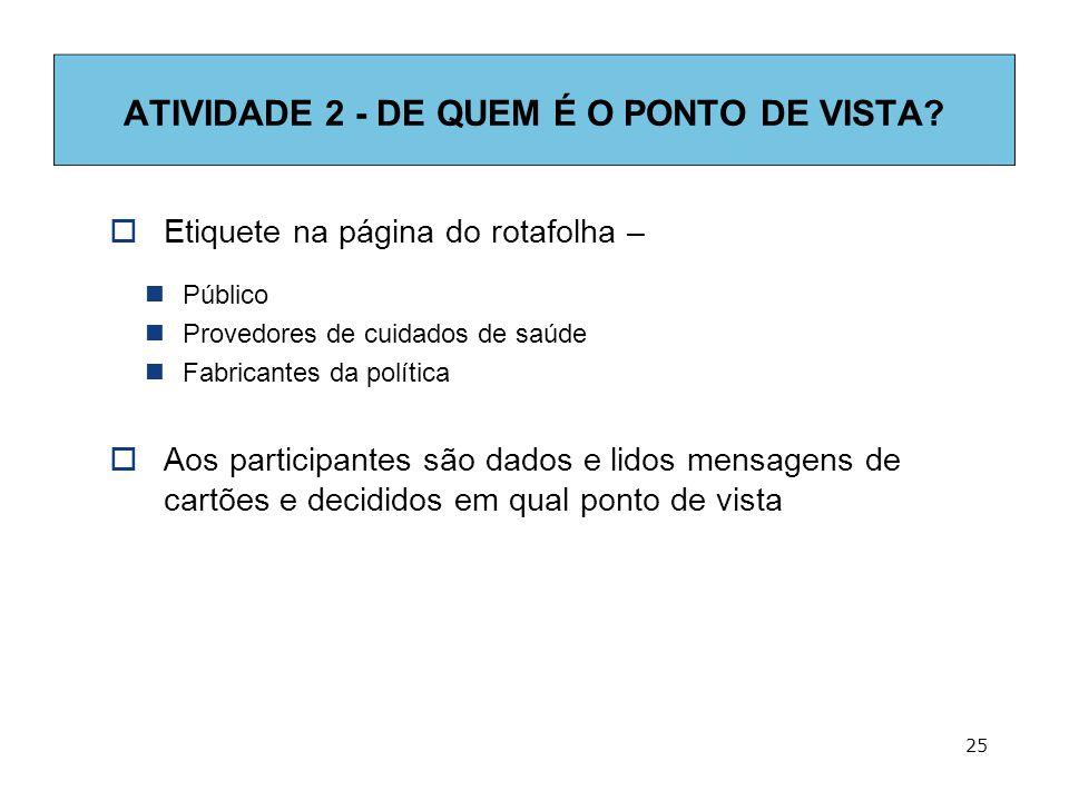 25 ATIVIDADE 2 - DE QUEM É O PONTO DE VISTA.