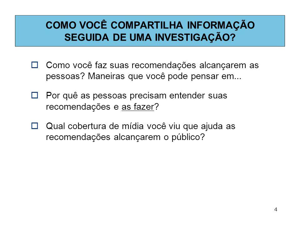 COMO VOCÊ COMPARTILHA INFORMAÇÃO SEGUIDA DE UMA INVESTIGAÇÃO.
