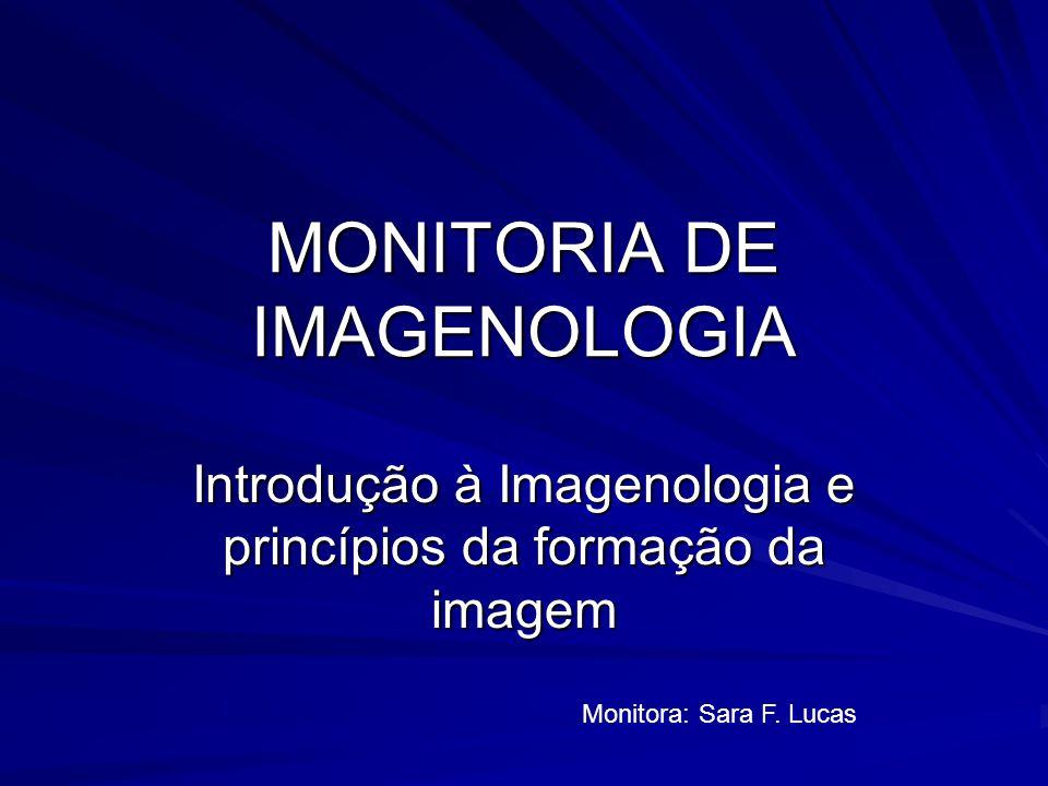 MONITORIA DE IMAGENOLOGIA Introdução à Imagenologia e princípios da formação da imagem Monitora: Sara F.