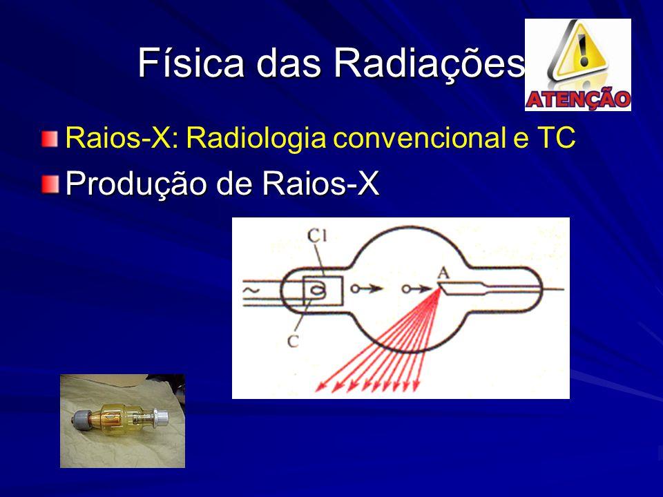 Física das Radiações Raios-X: Radiologia convencional e TC Produção de Raios-X