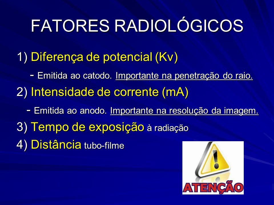 FATORES RADIOLÓGICOS 1) Diferença de potencial (Kv) - Emitida ao catodo. Importante na penetração do raio. - Emitida ao catodo. Importante na penetraç