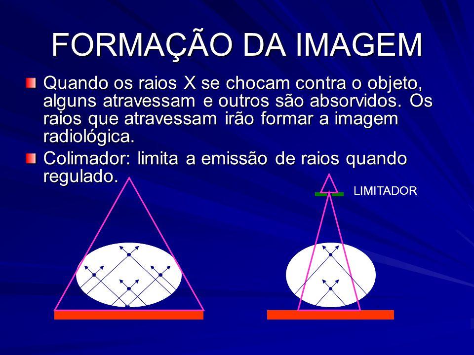 FORMAÇÃO DA IMAGEM Quando os raios X se chocam contra o objeto, alguns atravessam e outros são absorvidos. Os raios que atravessam irão formar a image