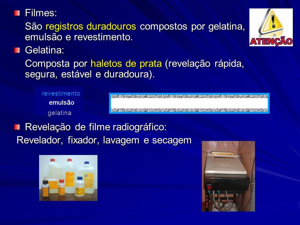Filmes: São registros duradouros compostos por gelatina, emulsão e revestimento. Gelatina: Composta por haletos de prata (revelação rápida, segura, es