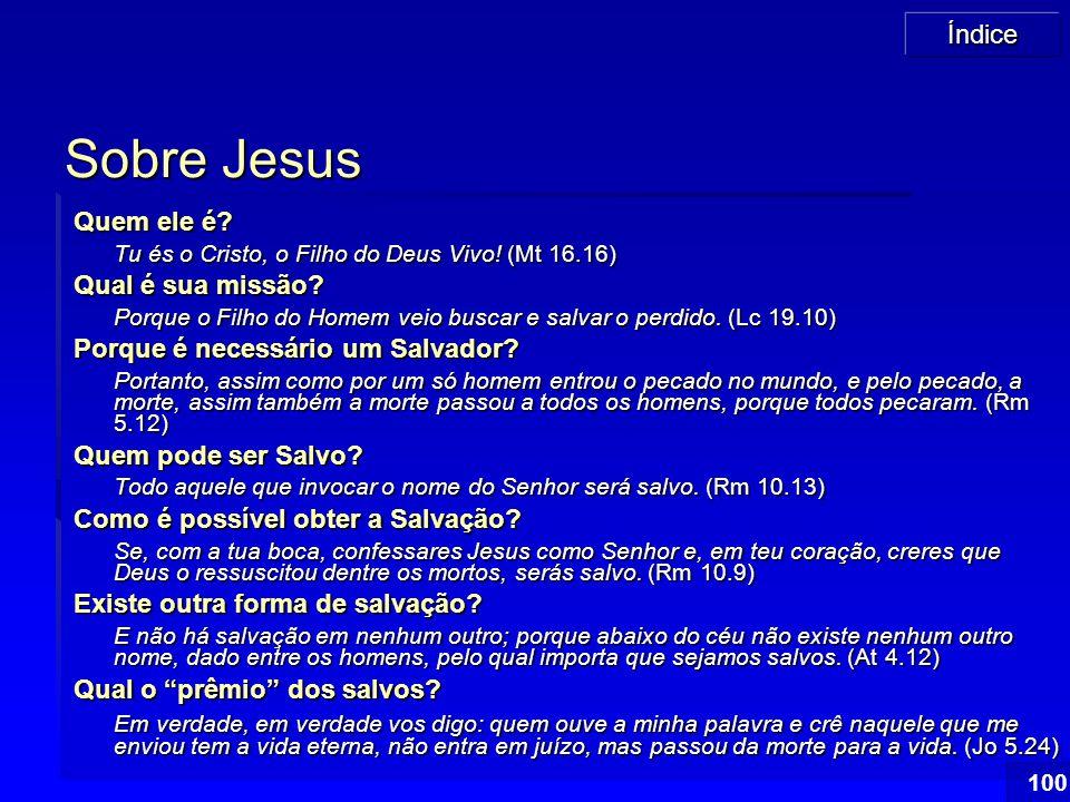 Índice 100 Sobre Jesus Quem ele é? Tu és o Cristo, o Filho do Deus Vivo! (Mt 16.16) Qual é sua missão? Porque o Filho do Homem veio buscar e salvar o