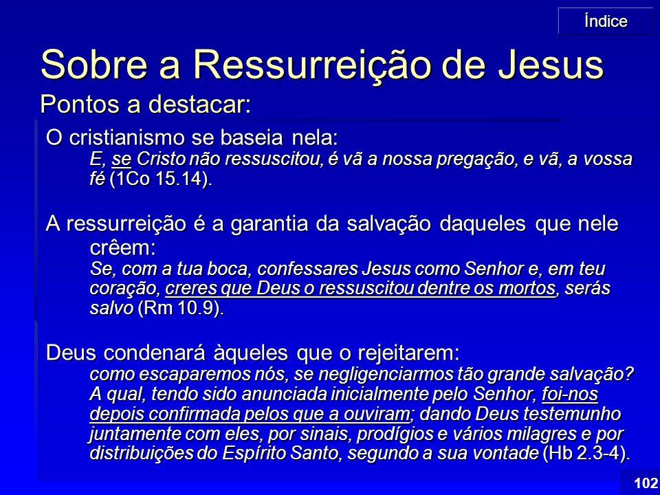 102 Sobre a Ressurreição de Jesus Pontos a destacar: O cristianismo se baseia nela: E, se Cristo não ressuscitou, é vã a nossa pregação, e vã, a vossa