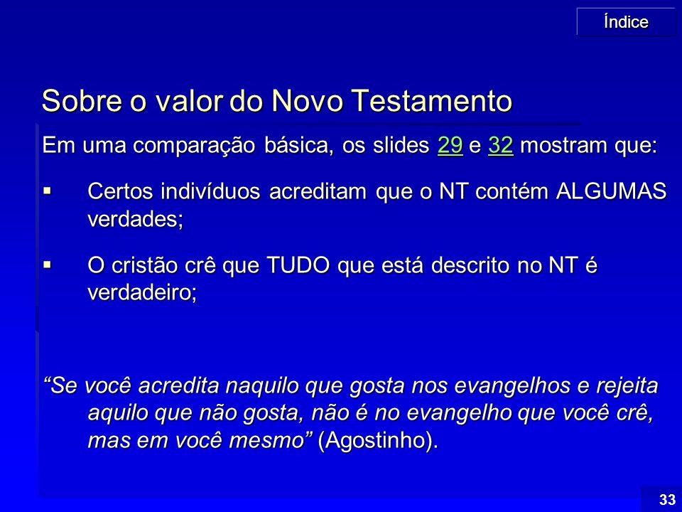 Índice 33 Sobre o valor do Novo Testamento Em uma comparação básica, os slides 29 e 32 mostram que: 29322932  Certos indivíduos acreditam que o NT co