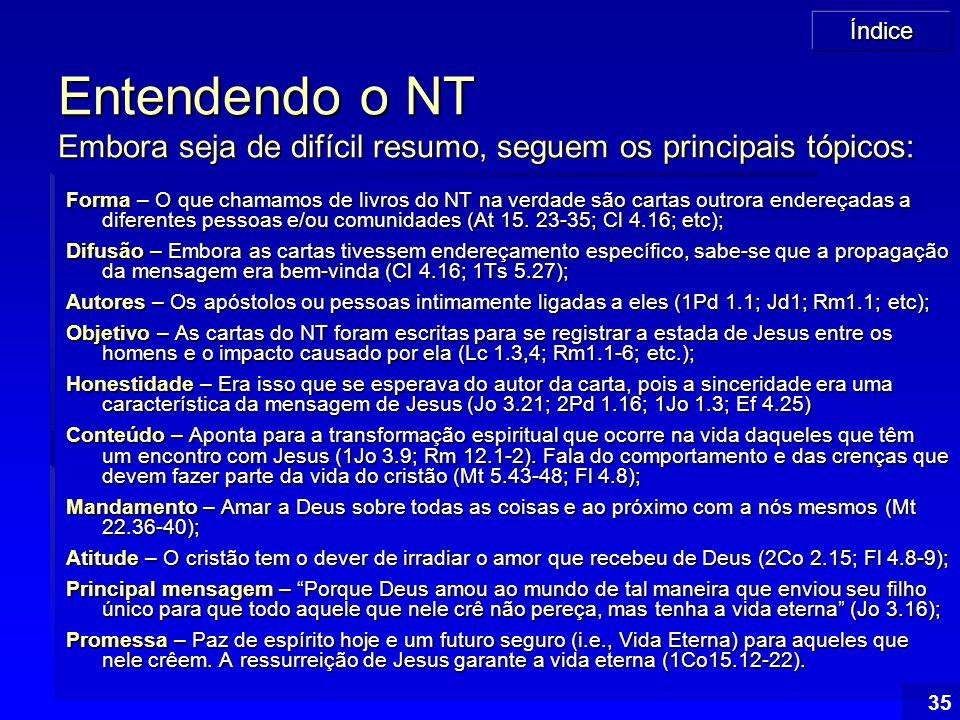 Índice 35 Entendendo o NT Embora seja de difícil resumo, seguem os principais tópicos: Forma – O que chamamos de livros do NT na verdade são cartas ou