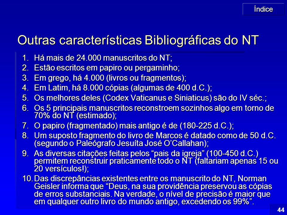 Índice 44 Outras características Bibliográficas do NT 1.Há mais de 24.000 manuscritos do NT; 2.Estão escritos em papiro ou pergaminho; 3.Em grego, há