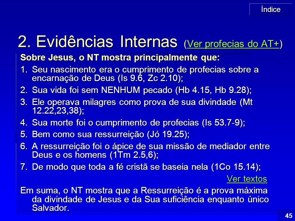 Índice 45 2. Evidências Internas (Ver profecias do AT+) Ver profecias do AT+Ver profecias do AT+ Sobre Jesus, o NT mostra principalmente que: 1.Seu na