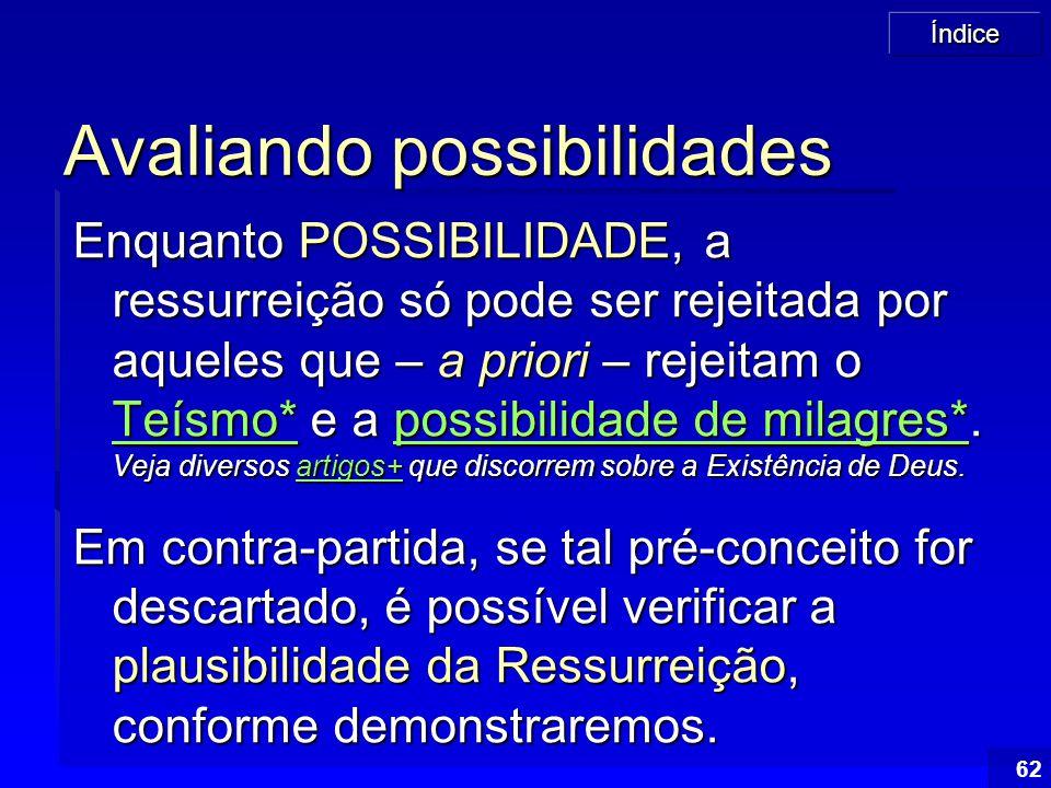 Índice 62 Avaliando possibilidades Enquanto POSSIBILIDADE, a ressurreição só pode ser rejeitada por aqueles que – a priori – rejeitam o Teísmo* e a po