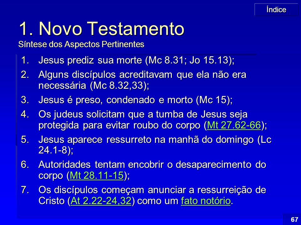 Índice 67 1. Novo Testamento Síntese dos Aspectos Pertinentes 1.Jesus prediz sua morte (Mc 8.31; Jo 15.13); 2.Alguns discípulos acreditavam que ela nã