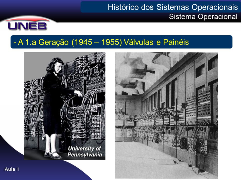 - A 1.a Geração (1945 – 1955) Válvulas e Painéis Histórico dos Sistemas Operacionais
