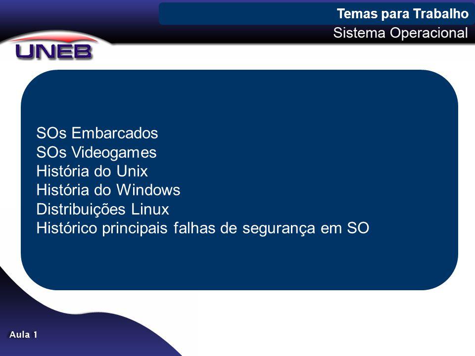 SOs Embarcados SOs Videogames História do Unix História do Windows Distribuições Linux Histórico principais falhas de segurança em SO Temas para Trabalho