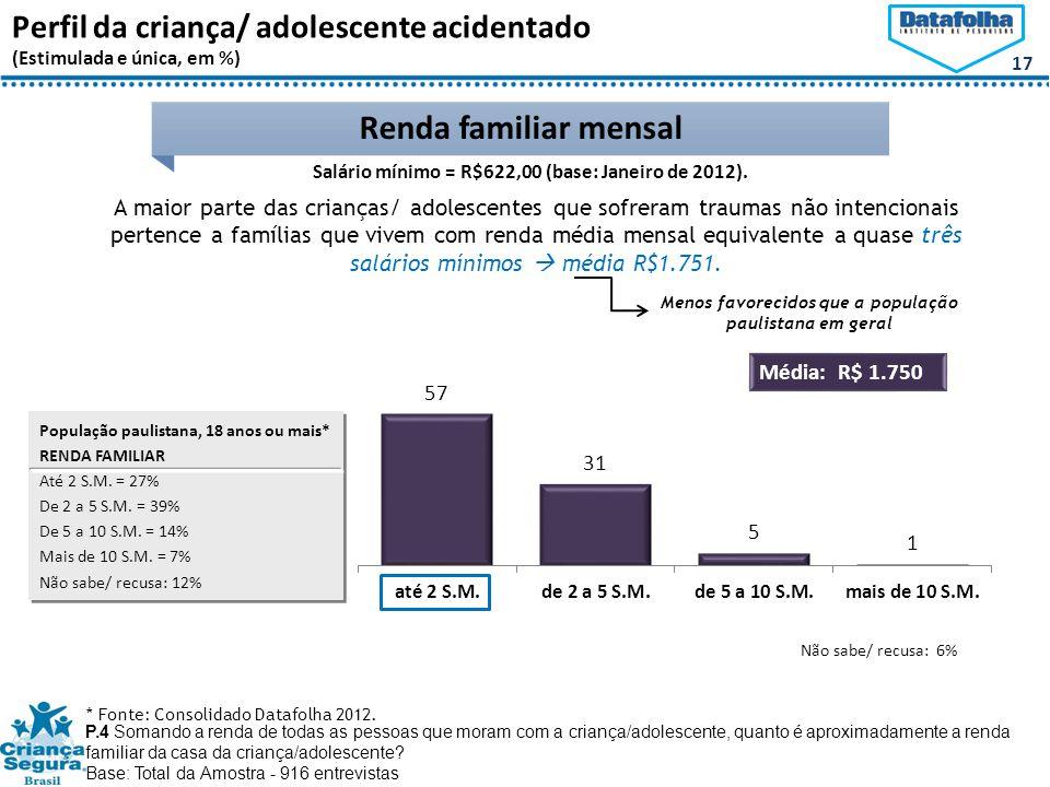 17 Renda familiar mensal P.4 Somando a renda de todas as pessoas que moram com a criança/adolescente, quanto é aproximadamente a renda familiar da casa da criança/adolescente.