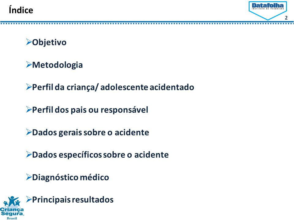 2 Índice  Objetivo  Metodologia  Perfil da criança/ adolescente acidentado  Perfil dos pais ou responsável  Dados gerais sobre o acidente  Dados específicos sobre o acidente  Diagnóstico médico  Principais resultados