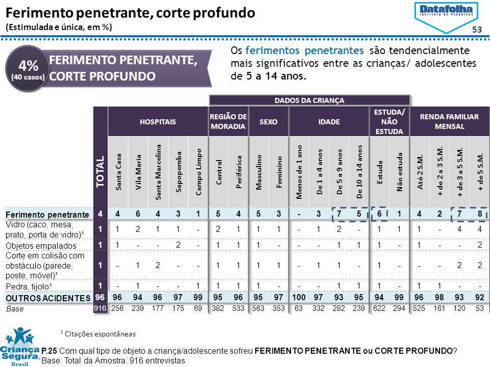 53 Ferimento penetrante, corte profundo (Estimulada e única, em %) P.25 Com qual tipo de objeto a criança/adolescente sofreu FERIMENTO PENETRANTE ou CORTE PROFUNDO.