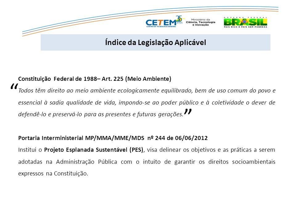 Índice da Legislação Aplicável Constituição Federal de 1988– Art.