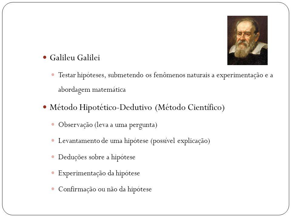  Galileu Galilei  Testar hipóteses, submetendo os fenômenos naturais a experimentação e a abordagem matemática  Método Hipotético-Dedutivo (Método Científico)  Observação (leva a uma pergunta)  Levantamento de uma hipótese (possível explicação)  Deduções sobre a hipótese  Experimentação da hipótese  Confirmação ou não da hipótese