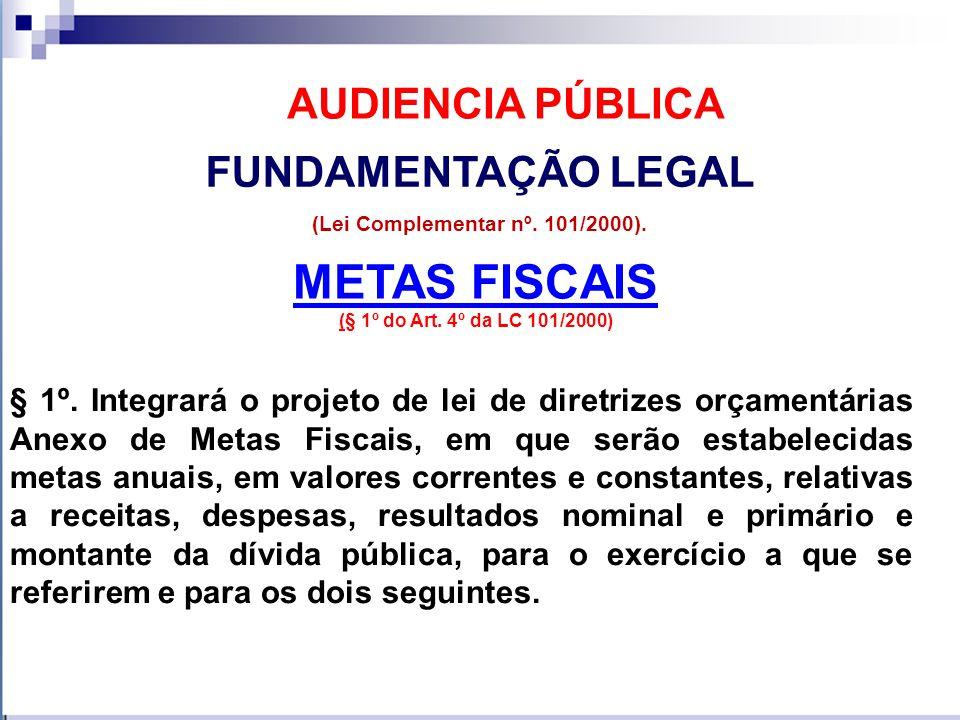 METAS FISCAIS (§ 1º do Art.4º da LC 101/2000) FUNDAMENTAÇÃO LEGAL (Lei Complementar nº.