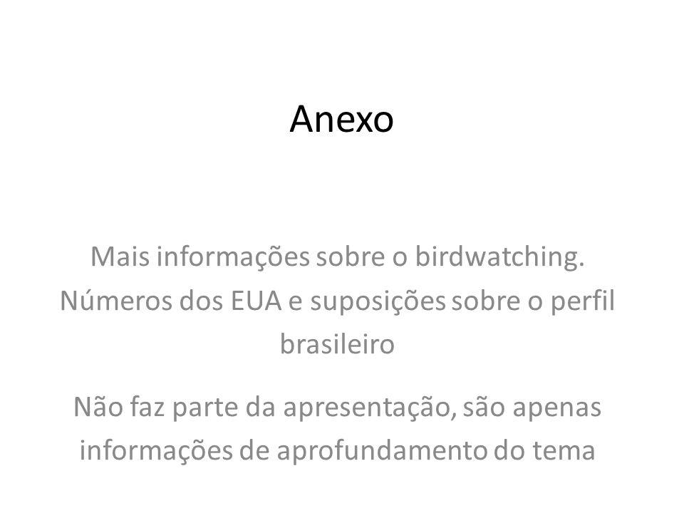 Anexo Mais informações sobre o birdwatching. Números dos EUA e suposições sobre o perfil brasileiro Não faz parte da apresentação, são apenas informaç