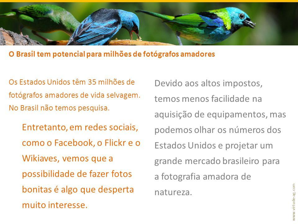 www.virtude-ag.com Os Estados Unidos têm 35 milhões de fotógrafos amadores de vida selvagem. No Brasil não temos pesquisa. Entretanto, em redes sociai