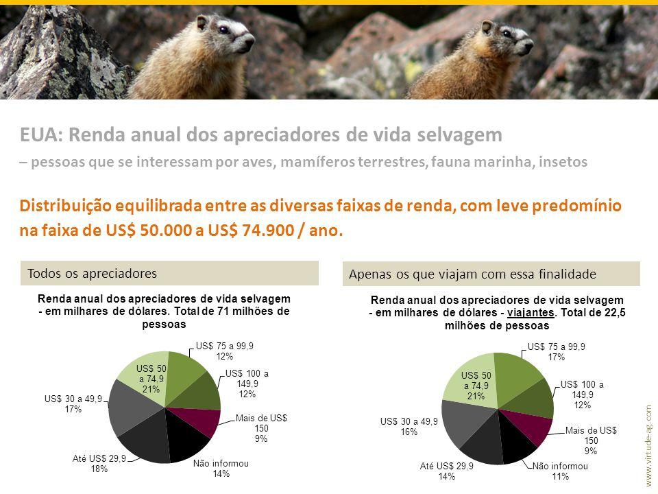www.virtude-ag.com Distribuição equilibrada entre as diversas faixas de renda, com leve predomínio na faixa de US$ 50.000 a US$ 74.900 / ano. EUA: Ren