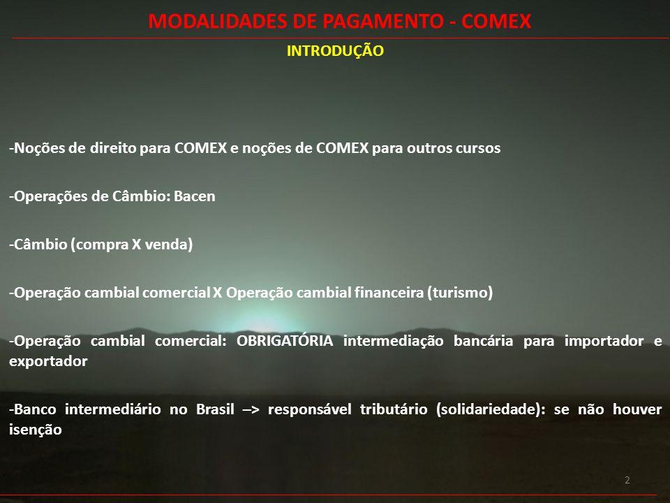 2 INTRODUÇÃO -Noções de direito para COMEX e noções de COMEX para outros cursos -Operações de Câmbio: Bacen -Câmbio (compra X venda) -Operação cambial