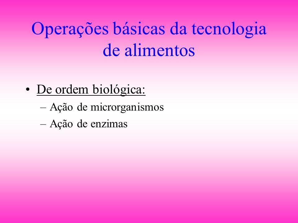 Operações básicas da tecnologia de alimentos •De ordem biológica: –Ação de microrganismos –Ação de enzimas