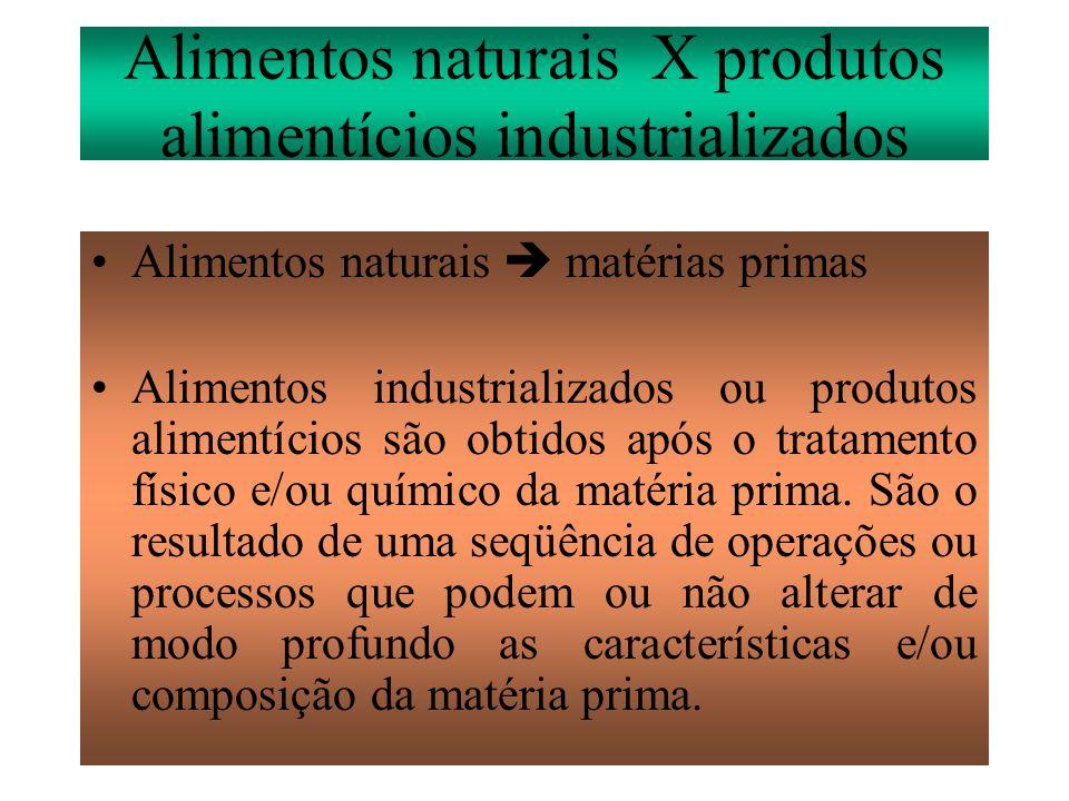 Alimentos naturais X produtos alimentícios industrializados •Alimentos naturais  matérias primas •Alimentos industrializados ou produtos alimentícios são obtidos após o tratamento físico e/ou químico da matéria prima.