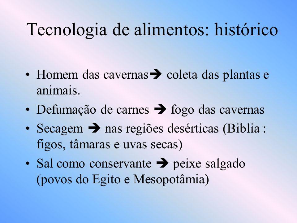 Tecnologia de alimentos: histórico •Fermentação para obtenção de bebidas álcoólicas  assírios, babilônicos e egípcios.