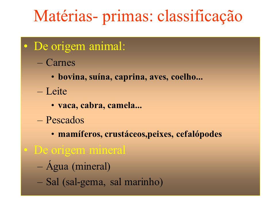 •De origem vegetal –Cereais ( arroz, trigo, aveia, centeio, milho) –Hortaliças •Folhas (Alface, rúcula, agrião, coentro cebolinha) •Raízes (cenoura, nabo,beterraba) •Tuberosas (batata, aimpim, cará) •Frutos (chuchu, tomate, pimentão) –Frutas •Frescas (abacaxi, banana, laranja, manga, uva) •Secas (amêndoas, avelãs, castanha-do pará, nozes, coco –Leite (de coco, de soja) –Vegetais oleaginosos •Frutas: (abacate, dendê, oliva) •Sementes (Algodão, gergelim, girassol, dendê)