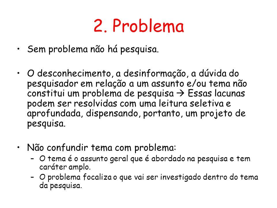 2. Problema •Sem problema não há pesquisa. •O desconhecimento, a desinformação, a dúvida do pesquisador em relação a um assunto e/ou tema não constitu