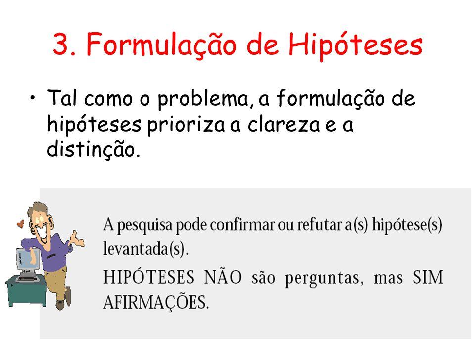 3. Formulação de Hipóteses •Tal como o problema, a formulação de hipóteses prioriza a clareza e a distinção.