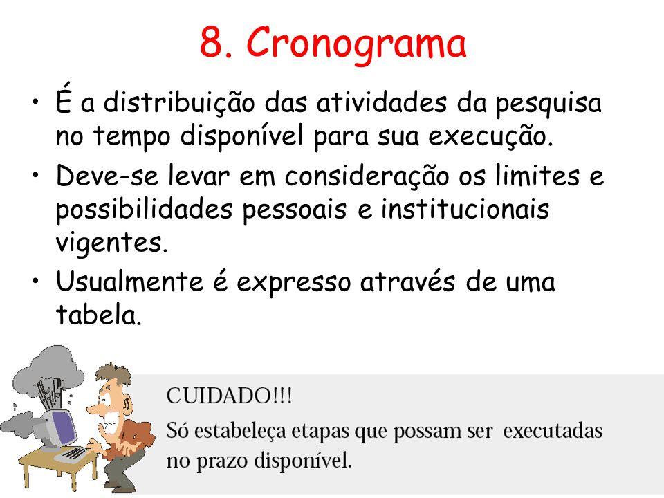 8. Cronograma •É a distribuição das atividades da pesquisa no tempo disponível para sua execução. •Deve-se levar em consideração os limites e possibil