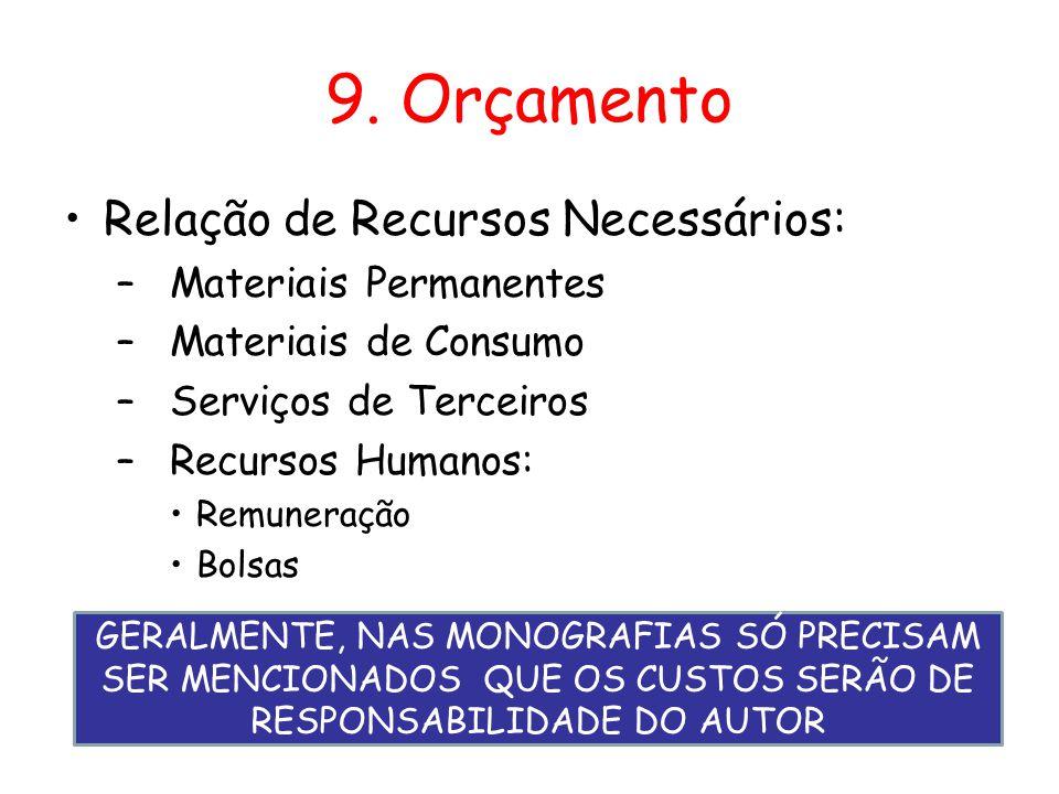 9. Orçamento •Relação de Recursos Necessários: –Materiais Permanentes –Materiais de Consumo –Serviços de Terceiros –Recursos Humanos: •Remuneração •Bo