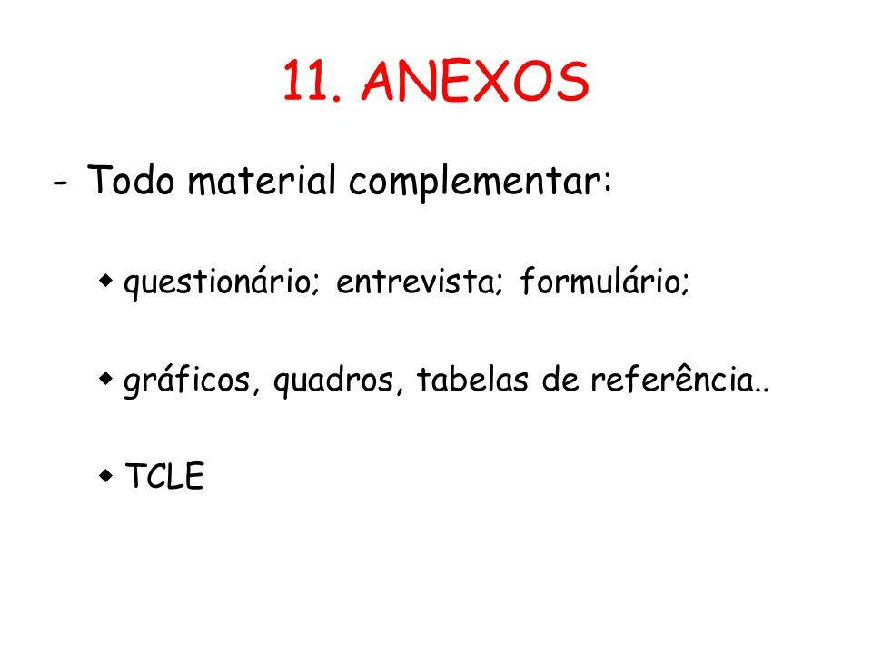 11. ANEXOS -Todo material complementar:  questionário; entrevista; formulário;  gráficos, quadros, tabelas de referência..  TCLE