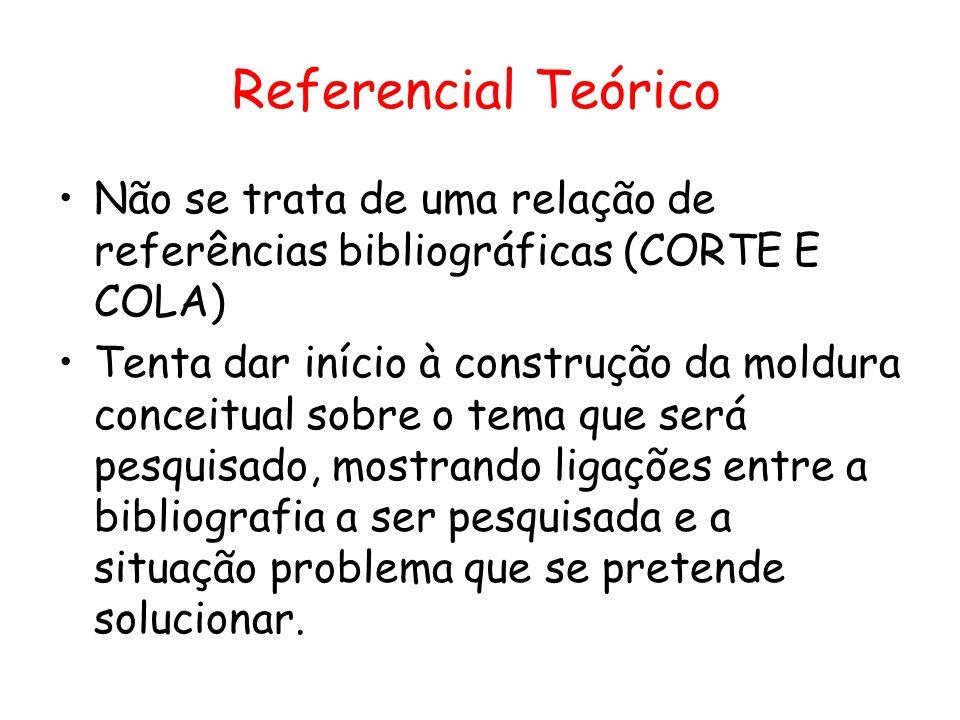 Referencial Teórico •Não se trata de uma relação de referências bibliográficas (CORTE E COLA) •Tenta dar início à construção da moldura conceitual sob