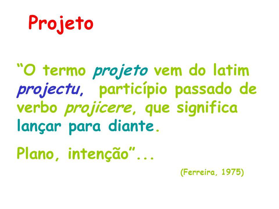 """Projeto """"O termo projeto vem do latim projectu, particípio passado de verbo projicere, que significa lançar para diante. Plano, intenção""""... (Ferreira"""