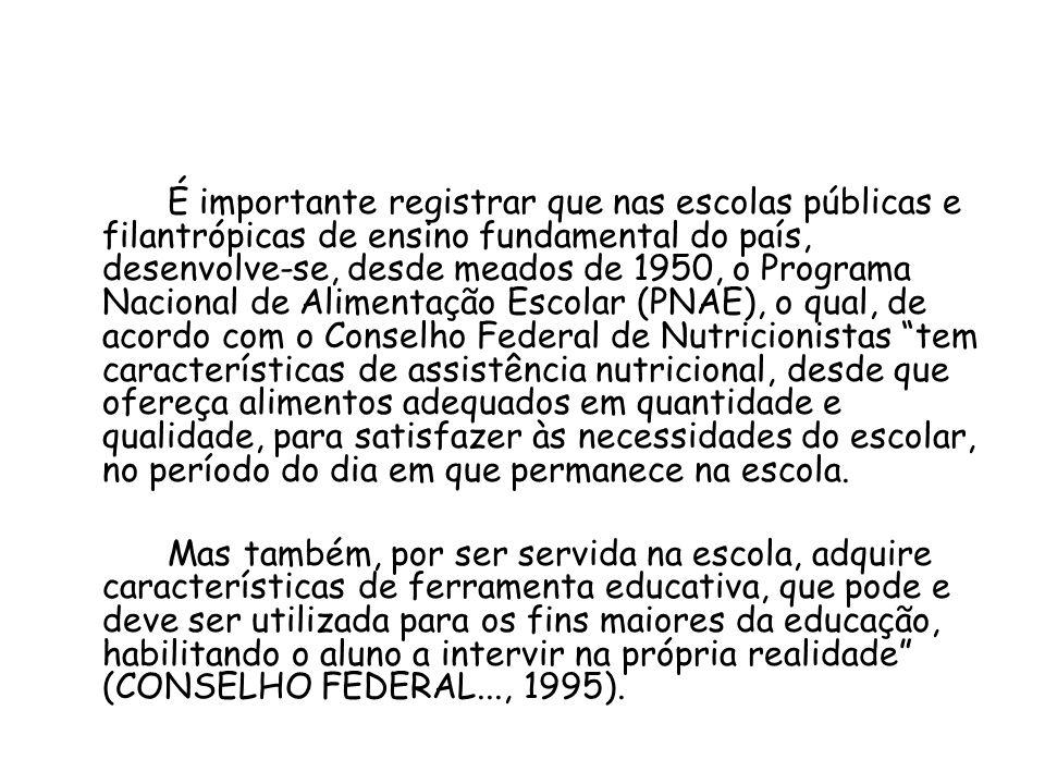 É importante registrar que nas escolas públicas e filantrópicas de ensino fundamental do país, desenvolve-se, desde meados de 1950, o Programa Naciona