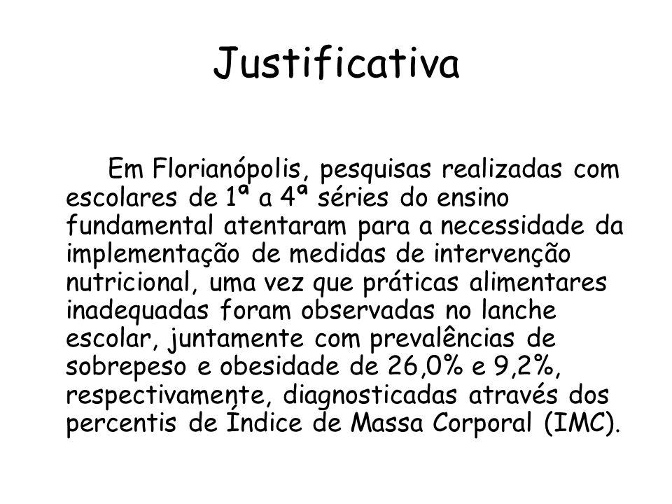 Justificativa Em Florianópolis, pesquisas realizadas com escolares de 1ª a 4ª séries do ensino fundamental atentaram para a necessidade da implementaç