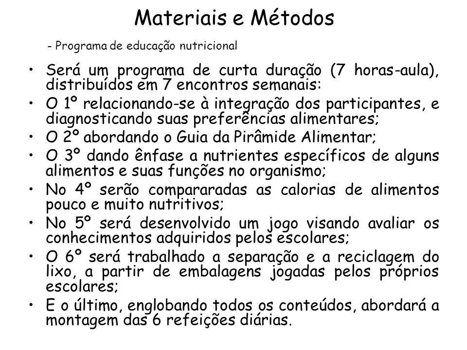 Materiais e Métodos •Será um programa de curta duração (7 horas-aula), distribuídos em 7 encontros semanais: •O 1º relacionando-se à integração dos pa