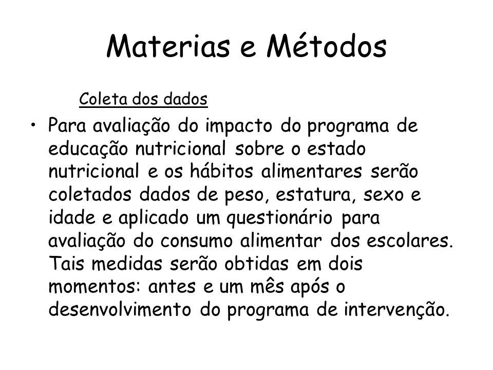 Materias e Métodos Coleta dos dados •Para avaliação do impacto do programa de educação nutricional sobre o estado nutricional e os hábitos alimentares