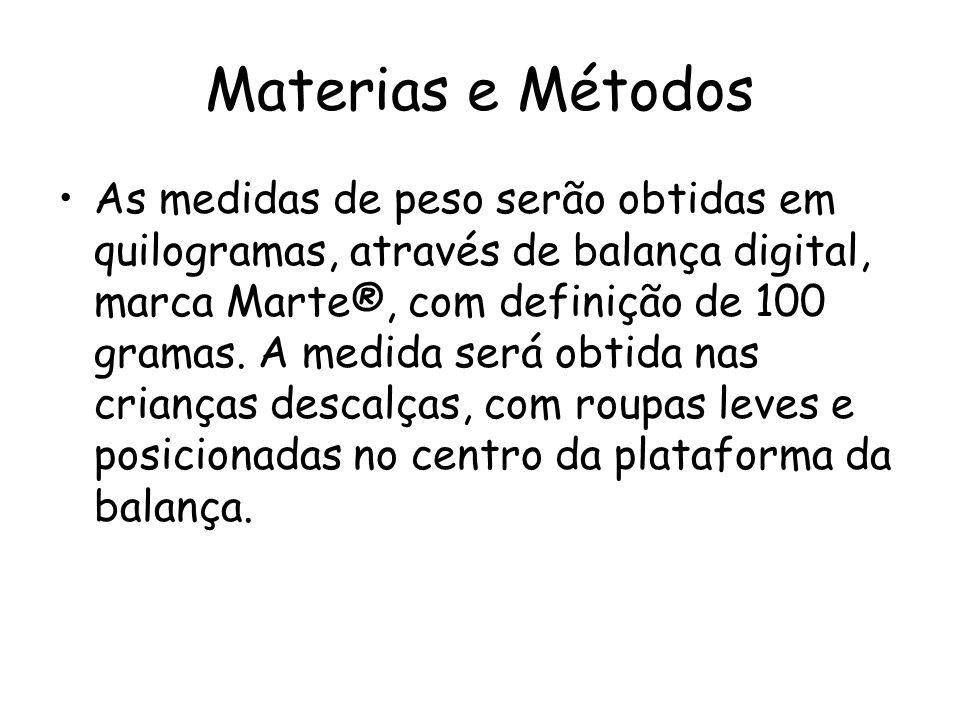 Materias e Métodos •As medidas de peso serão obtidas em quilogramas, através de balança digital, marca Marte®, com definição de 100 gramas. A medida s
