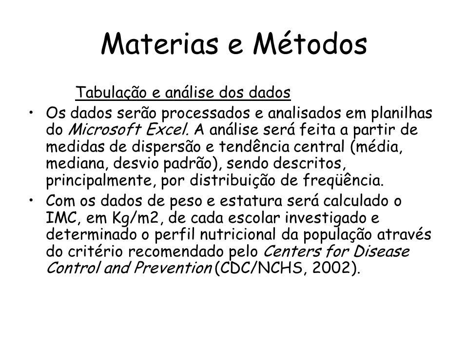 Materias e Métodos Tabulação e análise dos dados •Os dados serão processados e analisados em planilhas do Microsoft Excel. A análise será feita a part