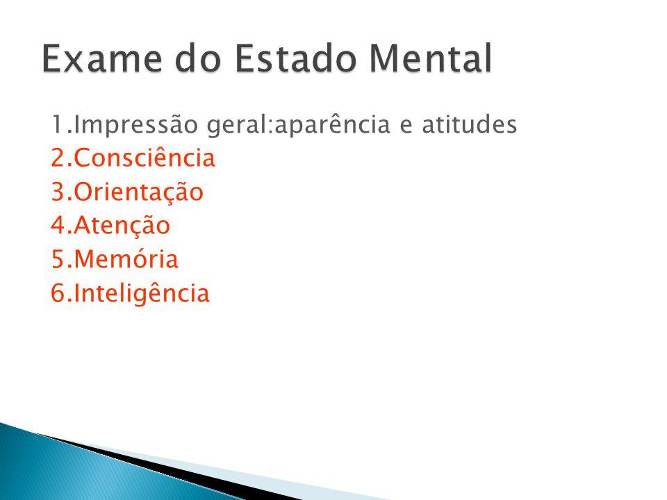 1.Impressão geral:aparência e atitudes 2.Consciência 3.Orientação 4.Atenção 5.Memória 6.Inteligência