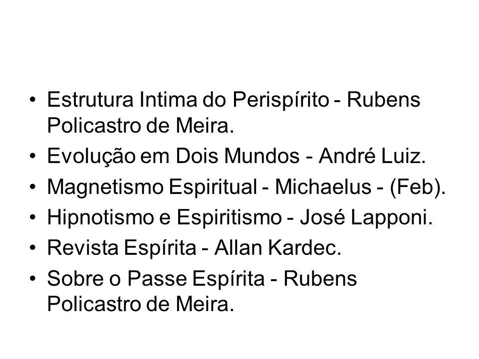 •Estrutura Intima do Perispírito - Rubens Policastro de Meira. •Evolução em Dois Mundos - André Luiz. •Magnetismo Espiritual - Michaelus - (Feb). •Hip