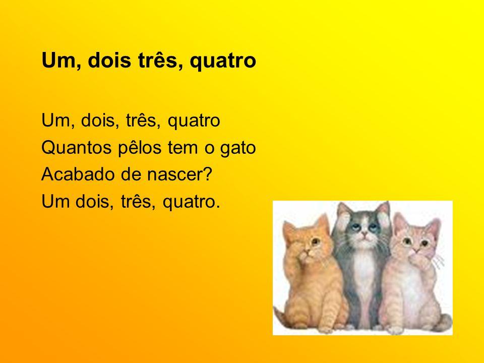 Um, dois três, quatro Um, dois, três, quatro Quantos pêlos tem o gato Acabado de nascer? Um dois, três, quatro.