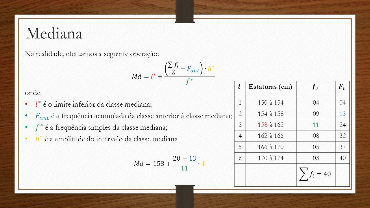 Mediana Outro exemplo: Determine a mediana da seguinte distribuição de frequência.