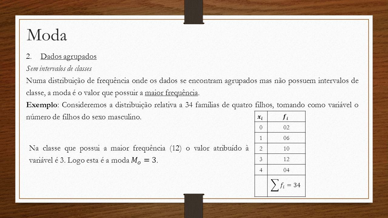 Moda 2.Dados agrupados Sem intervalos de classes Numa distribuição de frequência onde os dados se encontram agrupados mas não possuem intervalos de cl