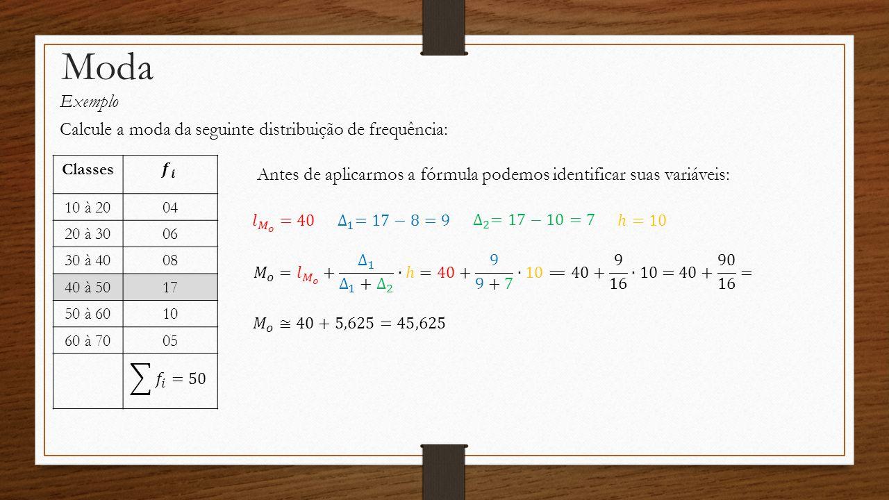 Moda Exemplo Calcule a moda da seguinte distribuição de frequência: Classes 10 à 2004 20 à 3006 30 à 4008 40 à 5017 50 à 6010 60 à 7005 Antes de aplic